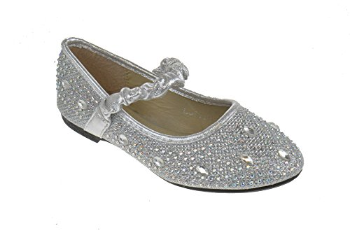 FU 037 KM Little Girls Rhinestone Ballet Ballerina Flats Silver Glitter 12