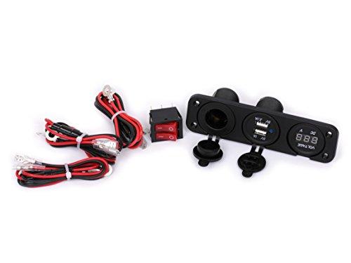 Ginsco 12V Car Cigarette Lighter Dual Socket USB Adapter Charger & Digital Voltmeter with Switch DIY Kit Black#2