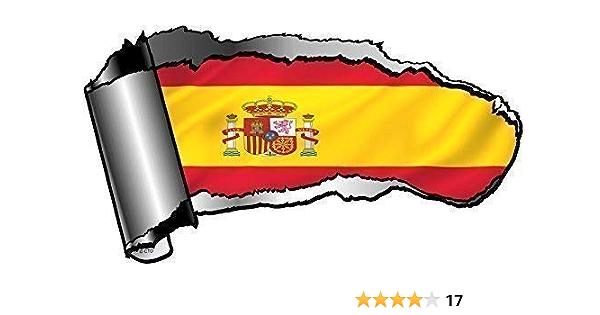Original Desgarrado Rasgado Abierto Gash Efecto Metal Pegatina Adhesivo Coche a Reveal Bandera País España Diseño 140x75mm: Amazon.es: Coche y moto