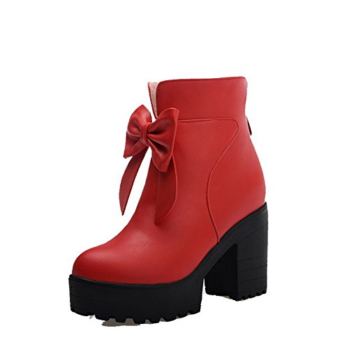 Zipper Boots Red High Toe Solid Heels Women's Round PU Closed Allhqfashion 6RzXq6