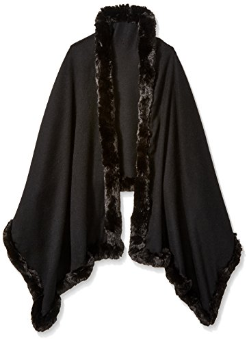 BADGLEY MISCHKA Women's Large Woven Wrap with Faux Chinchilla Trim, Black, One Size