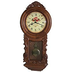 30-inch Tall Deluxe Elaborate Solid Wood OAK Case Pendulum Chiming Wall Clock with Westminster Hour Chimes, An Hour-strike - P00085
