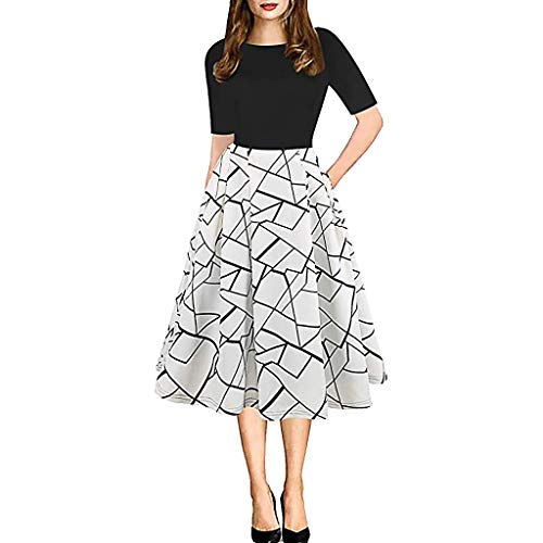 Dressin Womens Vintage Evening Dress Patchwork Pockets Puffy Swing Flower Print Pettiskirt Casual Party Dress White -