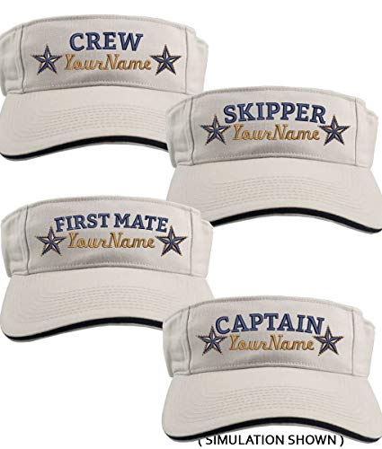 81dab99fff6a9 Custom Personalized Your Name on Captain First Mate Skipper Crew Stars  Embroidery on Your Selection of