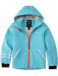 Wantdo Boys and Girls 5T Running Waterproof Rain Jacket with Hood Blue 14/16