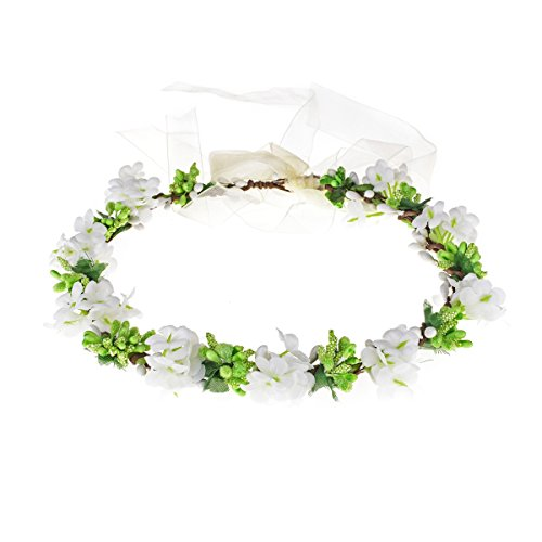 Love Sweety Nature Flower Crown Fruit Headband Boho Garland Wedding Photo Prop (White)