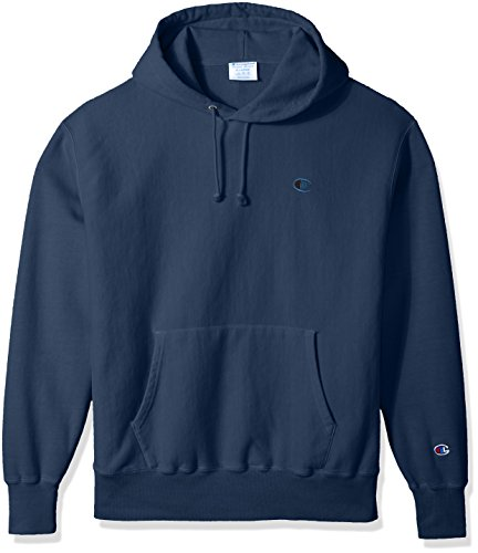 - Champion LIFE Men's Reverse Weave Pullover Hoodie, Indigo Batik Blue Pigment Dyed, X Small