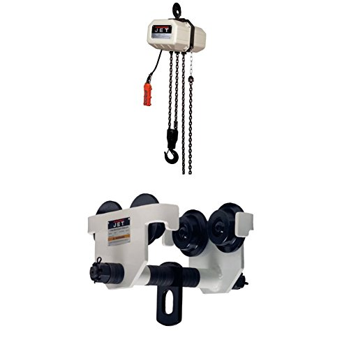 JET 1SS-3C-10 1-Ton 3 Phase 10-Feet Lift Electric Hoist with 1-HDT, 1-Ton Manual Trolley (10' Manual Standard Lift)