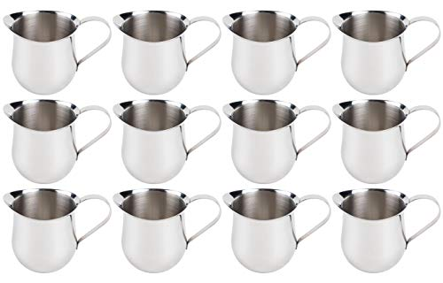 (12 Pack) 5-Ounce Stainless Steel Bell Creamer, 150 ml. Coffee Creamer Pitcher/Bell-Shaped Serving Cream Pitcher, Commercial Quality Bell Pitchers by Tezzorio ()