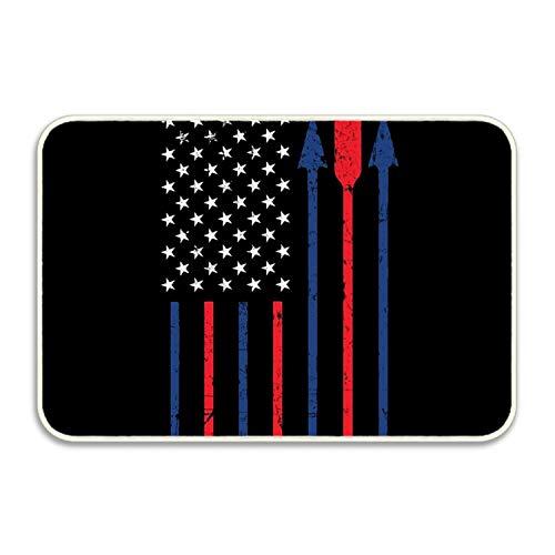 Btsyera Archery Patriotic American Flag Rectangular Doormat Funny Easily Fold Memory Foam Floor Mats for Home