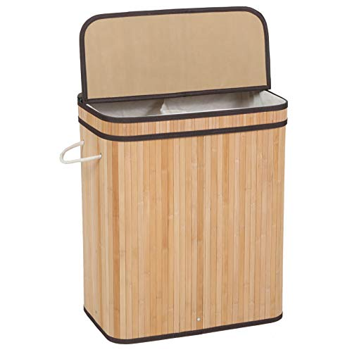 Sophia and William 100L Folding Laundry Basket with Lid Handles and Removable Liner Bamboo Hampers Dirty Clothes Storage - Natural