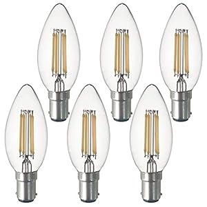 SD LUX B15 b15d Candle Bulb SBC Filament LED Candlelabra Light Bulbs Vintage Bulbs,C35 No Flicker Small Edison Bayonet…