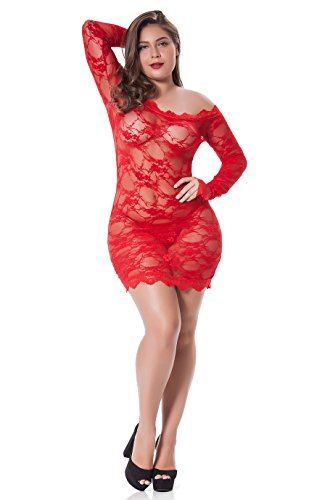 gular and Plus Size Chemise Floral Lace Off Shoulder See Through Bodysuit Sexy Lingerie, Red, Medium / Large ()