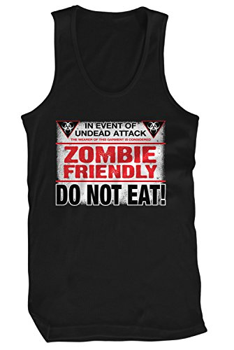 Amdesco Men's Zombie Friendly, DO NOT EAT! Tank Top, Black (Halloween Sayings About Food)