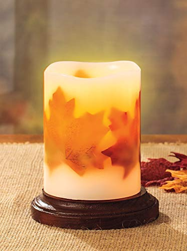 Realistic Flickering Flame - Authentic Candle Light for a Relaxing, Beautiful Home; Real Wax Pillar with Fall Leaves, Battery Operated LED, Unscented, Off-White, 3x4