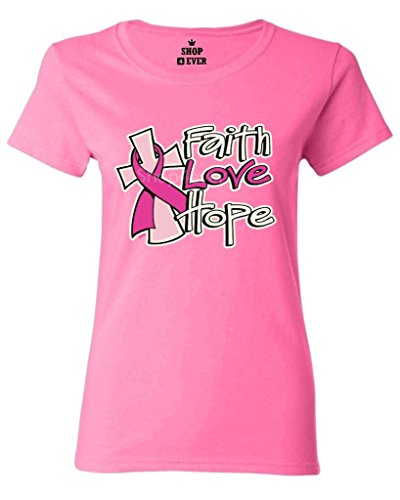 Shop4Ever® Faith Love Hope Women's T-Shirt Breast Cancer Awareness Shirts