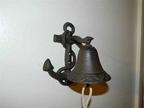 [Nautical Ship Cast Iron Anchor Ringing Bell Wall or Post Mounted Seaman Dinner] (Roadkill Cat Costume)