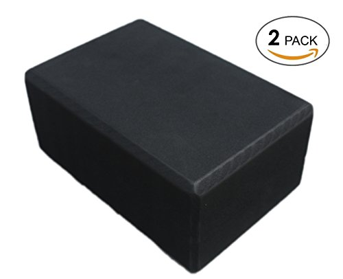 LUXEHOME Yoga Brick for Sports Exercise Fitness, 2 Pack EVA ECO Friendly Foam Extra Wide Yoga Blocks 4 In. x 6 In. x 9 In. Assort Colors, Perfect for Stretch Exercise Gym Exercise Body Building (Black)