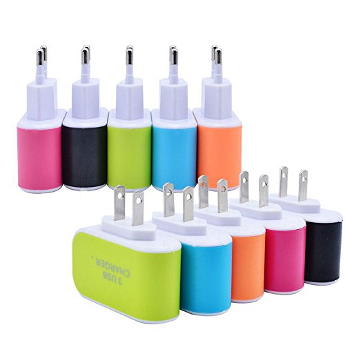 Tri-Port USB Wall Charger 5V 3.1A LED Adapter US Travel Power Adaptor 3-Port USB Charger for iPhone Samsung HTC LG Nokia All Mobile Phones (Pink)