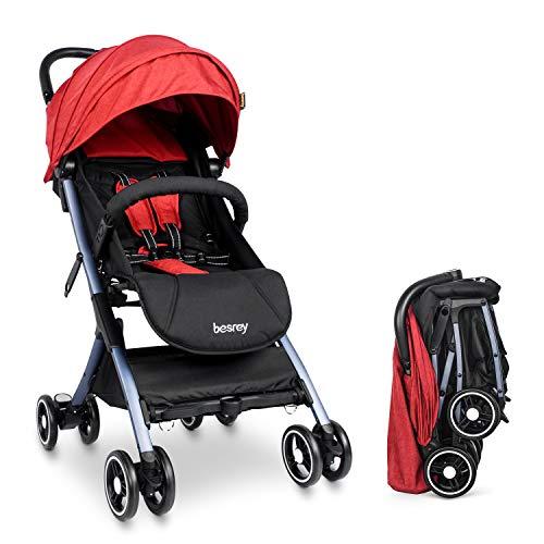 Besrey Silla Paseo Bebe Ligera Compacta Cochecito Viaje Avion 4,9 kg Carritos de Bebe Plegable 6-36 Meses,Rojo …