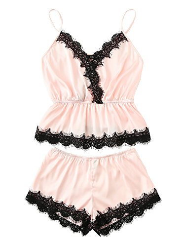 (DIDK Women's Lace Trim Velvet Bralette and Shorts Pajama Set Pink M)
