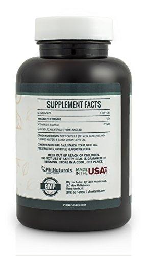 Phi Naturals Vitamin D3 5000 IU Softgels, 240 - 41l5eoyYDIL - Phi Naturals Vitamin D3 5000 IU Softgels, 240