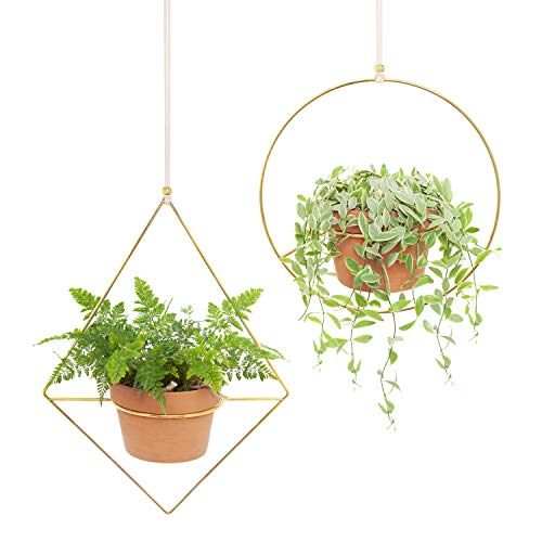Mkono 2 Pcs Plant Hanger - A Diamond & A Circle Shape, Metal Hanging Planter Modern Home Decor, Fits Large 6 Inch Planter, Gold (Flower Pot NOT Included)
