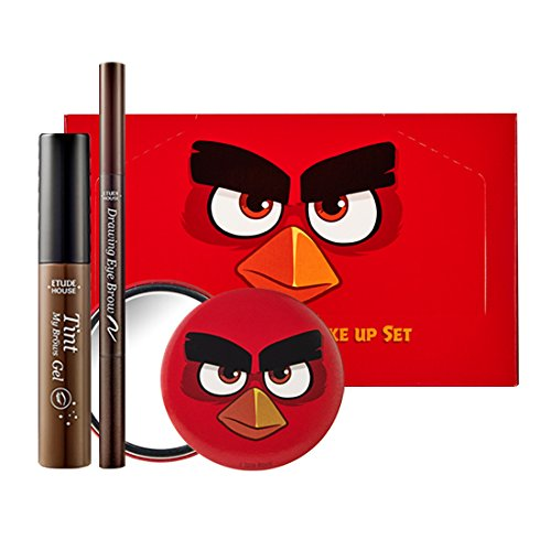 Etude House Brows Quick Make up Set : Tint My Brows Gel #01 brown 5g, Drawing eyebrow #03 brown , AngryBirds Mirror/ Beautynet Korea