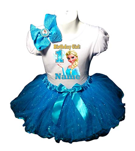 Frozen Elsa Birthday Party Dress 1st Birthday Turquoise Tutu Outfit Shirt