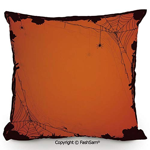 FashSam Home Super Soft Throw Pillow Grunge Halloween Composition Scary Framework with Insects Abstract Cobweb for Sofa Couch or Bed(20