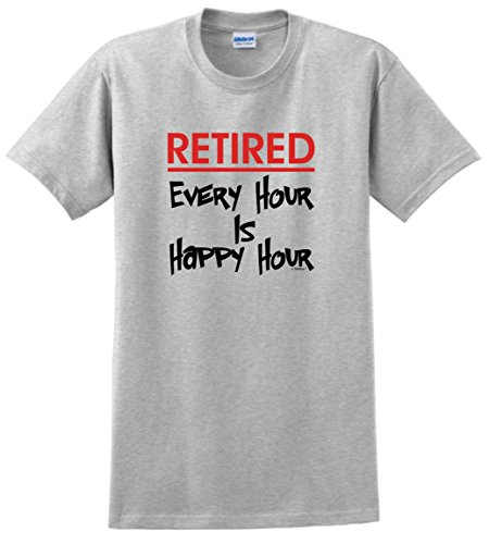 Retirement Party Supplies Retired Every Hour is Happy Hour T-Shirt 2XL Ash