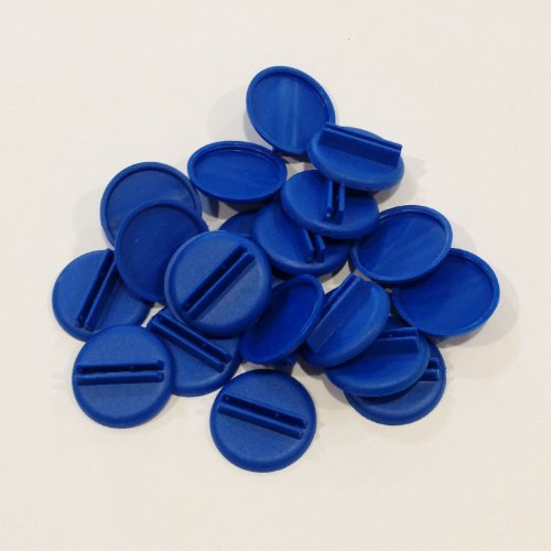 Plastic Card Stand to Hold up Playing Cards or Cardboard Marker Cut-outs: Set of 20 Blue Color Round Board Game Playing Pieces (School Classroom Supplies, Arts & Crafts Projects, Teaching & Education Toy Resource Components, Extra Instructional Play Materials)