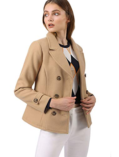 Allegra K Women's Notched Lapel Double Breasted Pea Coat S Camel