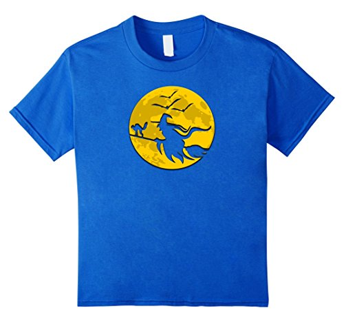 Full Moon Party Costume Ideas (Kids Full Moon Witch on Broomstick Halloween T Shirt 8 Royal Blue)