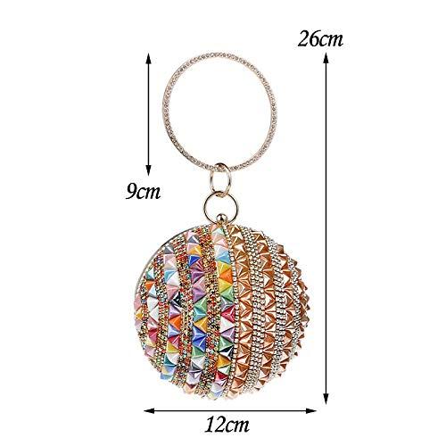 Sacoche De Colorés Redandblue Sac Soirée Diameter12cm Pour couleur D'embrayage Gold Diamants Femme Taille Sphérique À 4n6zZ4qr