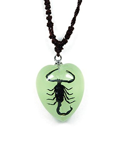 Heart Shaped Glow In The Dark Necklace w/ Genuine Black (Buy Glow Necklaces)