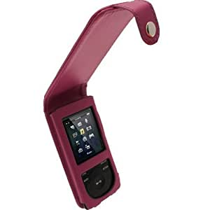 iGadgitz Leather Flip Case Cover for Sony Walkman NWZ-E473 NWZ-E474 NWZ-E574 NWZ-E575 E Series Video MP3 Player - Purple by iGadgitz