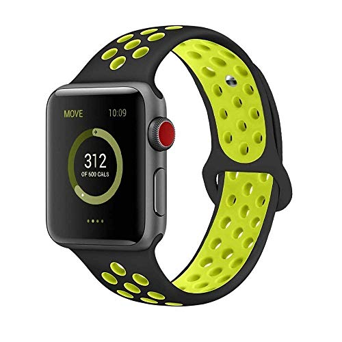 AdMaster Compatible for Apple Watch Bands 38mm,Soft Silicone Replacement Wristband for iWatch Apple Watch Series 1/2/3 - S/M Black/Volt