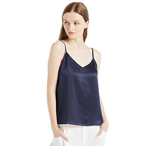 LilySilk Women's Silk Camisole 100 Mulberry 22MM V Neck Front and Back Basic Soft Tank Tops for Ladies Navy Blue 4-6/S
