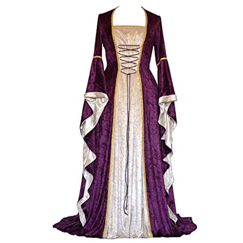 CosplayDiy Women's Medieval Renaissance Retro Gown Cosplay Costume Dress (XXXL, T-Purple)