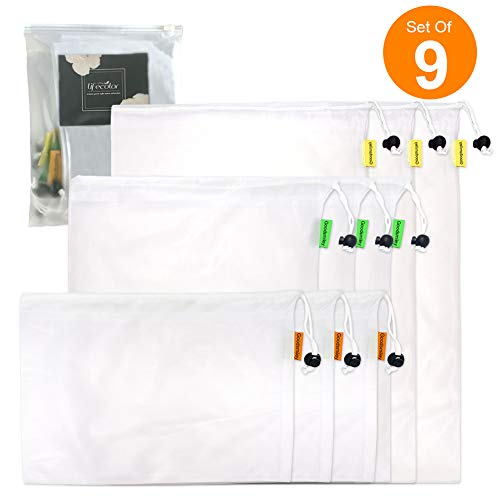 Reusable Produce Mesh Bags with drawstring, Set of 9 Premium Washable Eco Friendly Bags 3 Different Sizes 12x17