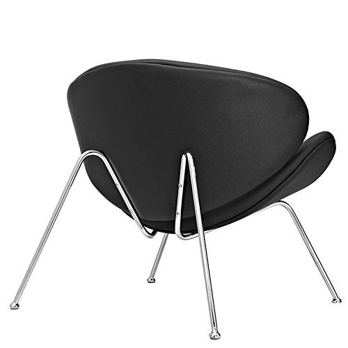 Benzara BM185062 Modern Curved Lounge Chair with Steel Flared Legs Black