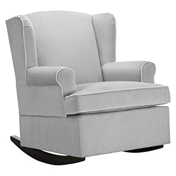 Eddie Bauer Wingback Upholstered Rocker   Grey   Wingback Chair   Rocking  Chairs   Comfortable Seat