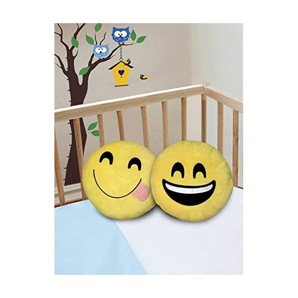Cortina 2 Pcs Soft Form Filled Polyester Smiley Emoji Cushion, Home Decor Emoticon Cushion Pillow Soft Toy Ideal for Living Room Sofa, Kids Room, Car and More – Yellow (15.7″x15.7″)