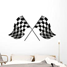 Wallmonkeys Checkered Flag Racing Wall Decal Peel and Stick Decals for Boys (60 in W x 38 in H) WM347887