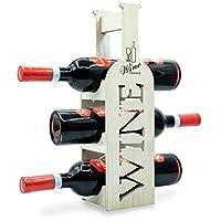 Torre Portabottiglie Vino in Bambù – Cantinetta per esposizione di 3 Bottiglie classiche di Vino – dal Design Esclusivo…