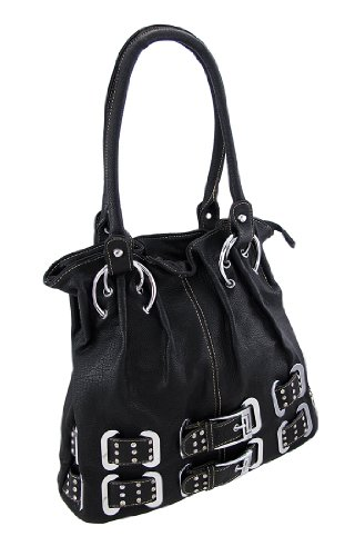 Black Shoulder Bag with Rhinestone Belts and Chrome Accents, Bags Central