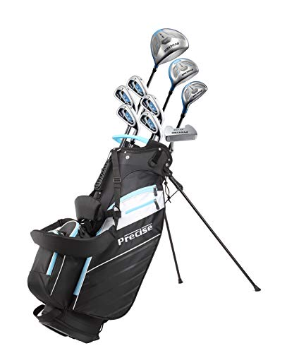 Precise AMG Ladies Womens Complete Golf Clubs Set Includes Driver, Fairway, Hybrid, 6-PW Irons, Putter, Stand Bag, 3 H/C's - Choose Color and Size! (Light Blue, Regular Size)