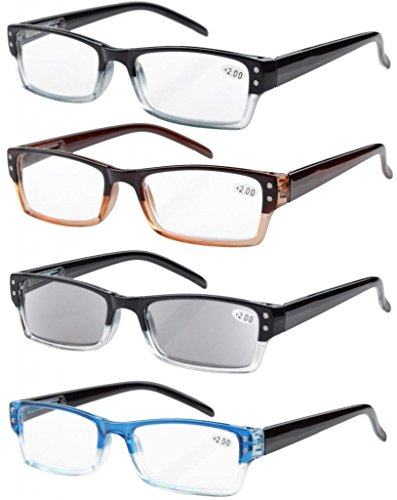 Eyekepper 4-pack Spring Hinges Rectangular Reading Glasses Includes Sun Readers - Readers 1.75