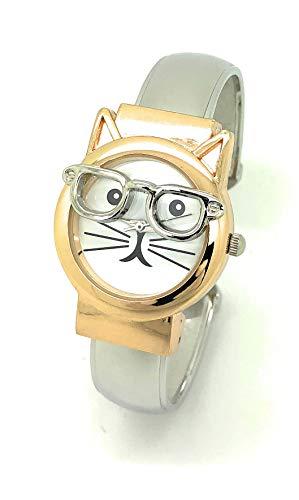 (Ladies Silly Kitty Cat Glasses Elegant Metal Bangle Cuff Fashion Watch (Two Tone))